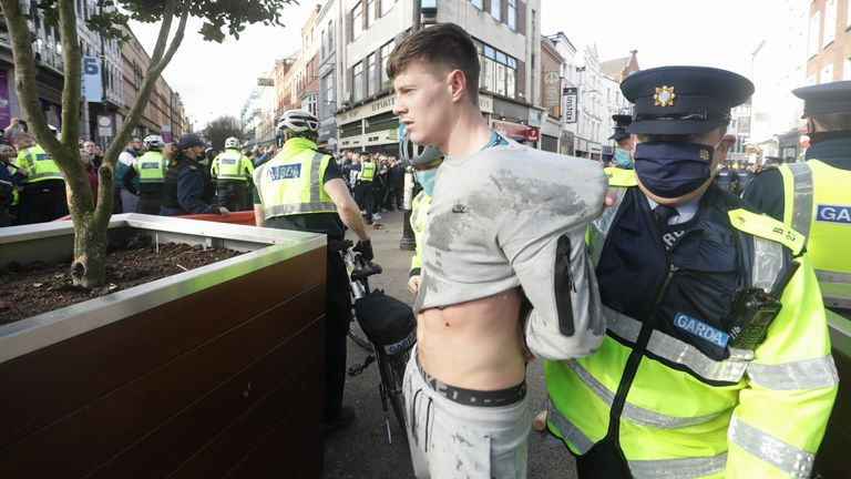 Gardai arrests protester in Dublin