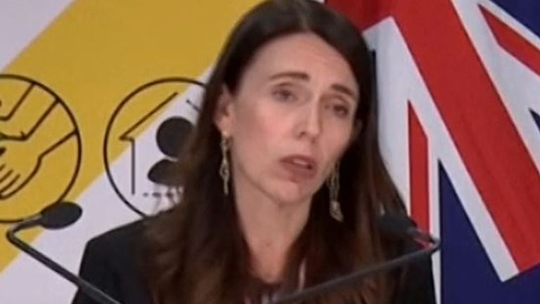 skynews jacinda ardern new zealand 5272128 Football Souvenir COVID-19: Auckland placed into three-day lockdown after three coronavirus cases detected