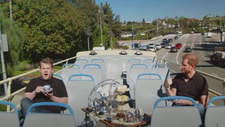 James Corden and Prince Harry toured LA on an open air bus with afternoon tea
