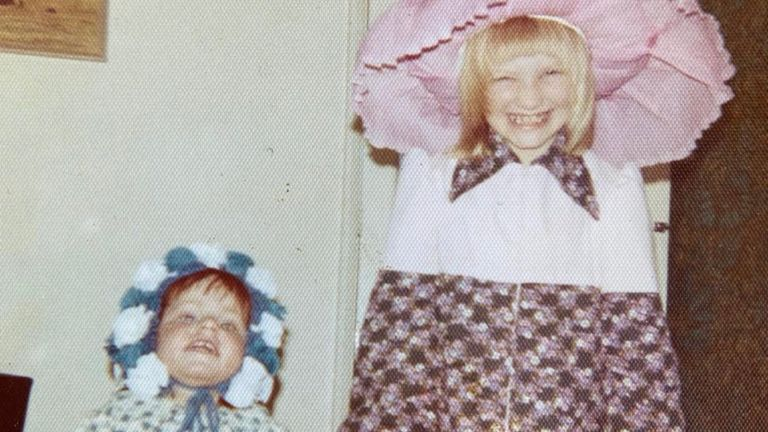 Whiley (right) says her sister (left) has learning disabilities and diabetes. Pic: Twitter/Jo Whiley