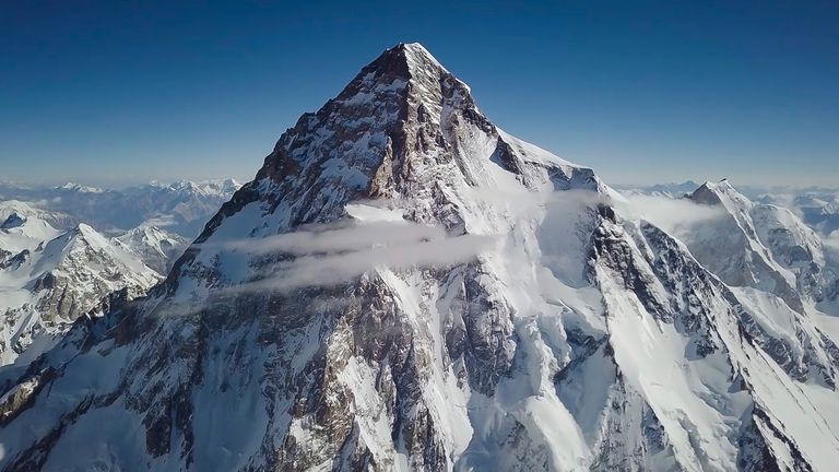 "K2, referred to as ""killer mountain"", is located in the Karakorum mountain range and is 8,611-metres (28,250-foot) high. Pic: Red Bull Content Pool/AP images"