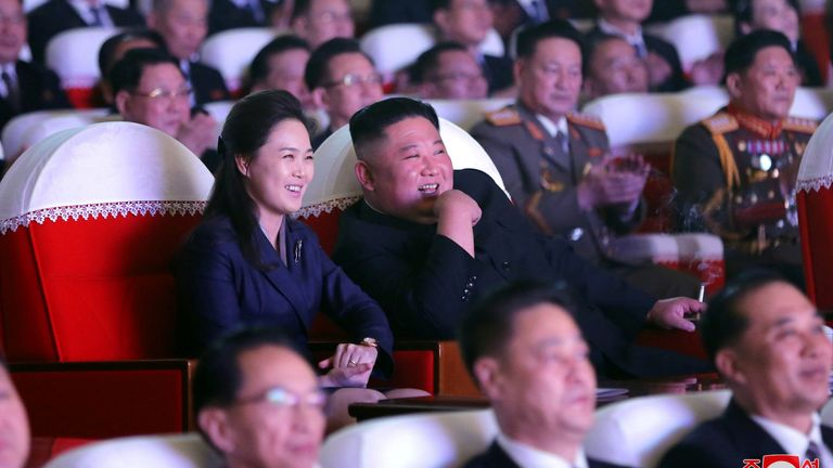 North Korean leader Kim Jong Un and his wife Ri Sol Ju at the Mansudae Art Theatre in Pyongyang