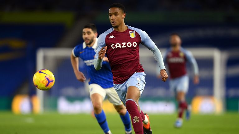 Aston Villa's Ezri Konsa during the Premier League match at the AMEX Stadium, Brighton. Picture date: Saturday February 13, 2021.