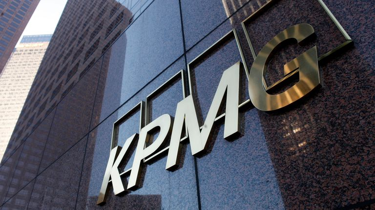 The street level sign of the KPMG buliding