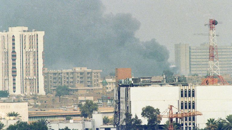 Smoke rising in Baghdad during the 1991 Gulf War