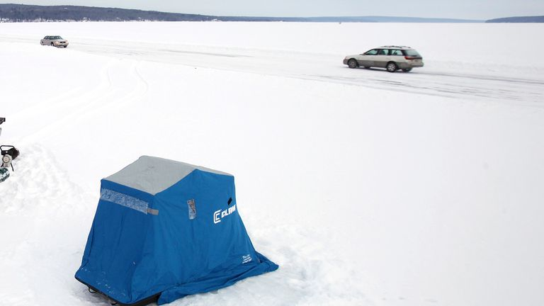 Ice fishing is popular along Lake Superior - but it led to dramatic scenes when a group drifted away from the shoreline. File pic