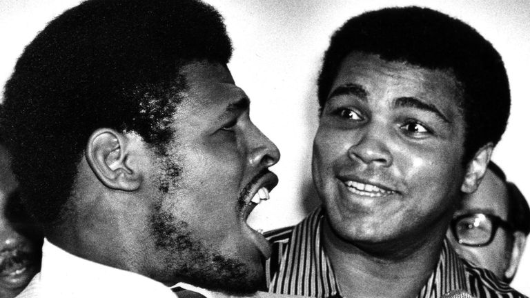 Muhammad Ali, right, has to listen as heavyweight champion Leon Spinks speaks as they sign contracts for their rematch in 1978. Pic: AP