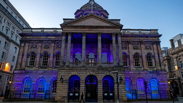 Liverpool's Town Hall is lit up in blue in a gesture of thanks to the hardworking NHS staff who are trying to battle coronavirus. A national salute for the frontline healthcare heroes is taking place across the UK with a mass round of applause from doorsteps, windows and balconies on Thursday at 8pm. PA Photo. Picture date: Thursday March 26, 2020. See PA story HEALTH Coronavirus. Photo credit should read: Peter Byrne/PA Wire