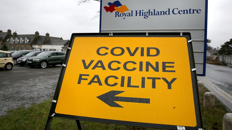 A Covid vaccine facility sign at the Royal Highland Show ground in Edinburgh, where lockdown measures introduced on January 5 for mainland Scotland remain in effect until at least the end of February. Picture date: Thursday February 4, 2021.