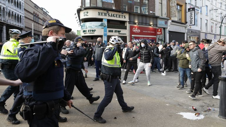 Gardai and protesters clash in Dublin