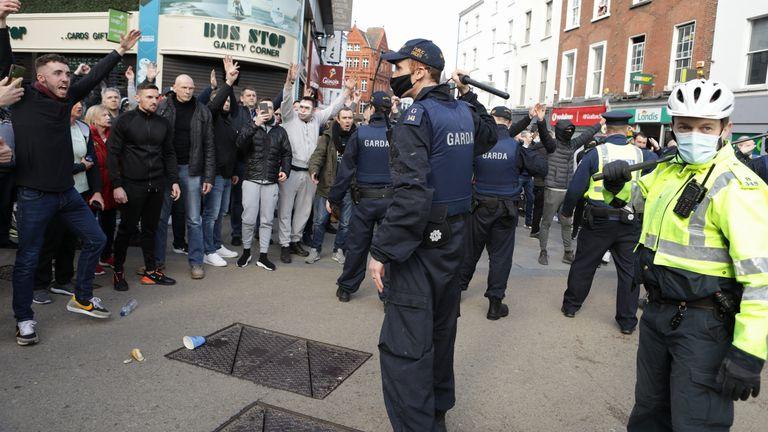 Gardai and protesters clash in Dublin