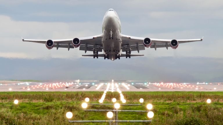 Take off at Manchester airport