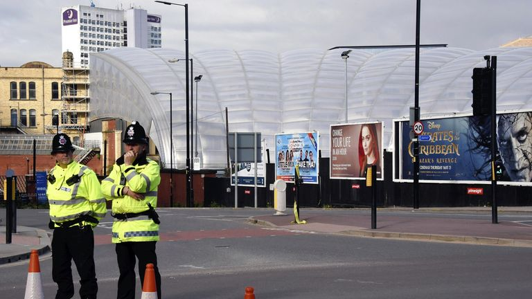 Police outside Manchester Arena after bombing in May 2017. Pic: AP