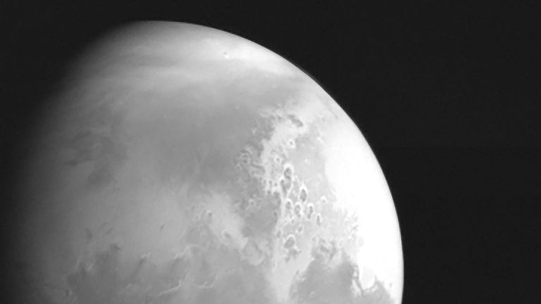 A monochrome image of Mars snapped by China's Tianwen-1 spacecraft. Pic: CNSA