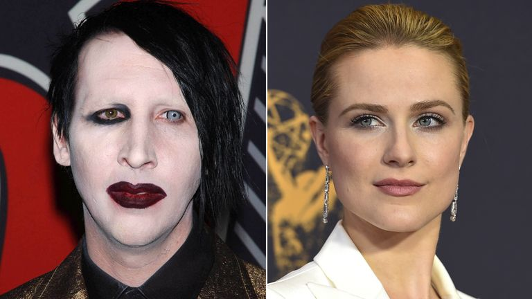 Marilyn Manson and Evan Rachel Wood. Pics: Star Max/Jordan Strauss/Invision/AP