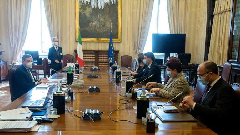 Mr Draghi meets members of Italia Viva party during talks on forming a new government