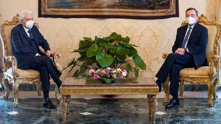 Mr Draghi, right, meets with Italian President Sergio Mattarella in Rome
