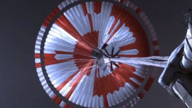 The parachute's inflation was 'textbook' and took seven-tenths of a second. Pic: NASA
