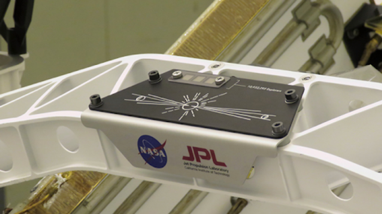 """A placard commemorating NASA's """"Send Your Name to Mars"""" campaign was installed on the Perseverance Mars rover on March 16, 2020, at NASA's Kennedy Space Center. Full image and caption ›"""
