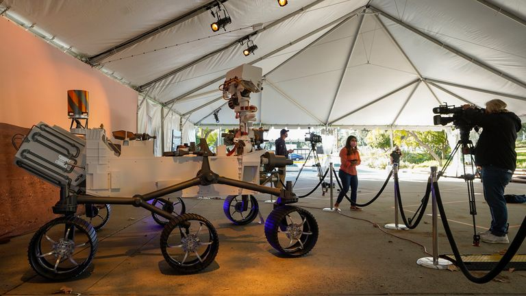 A full-scale model of the Mars 2020 Mission Perseverance Rover. Pic: AP