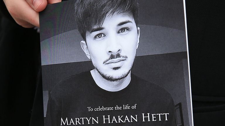 An order of service for the funeral of Martyn Hett, who was killed in the Manchester Arena bombing, at Stockport Town Hall Plaza.