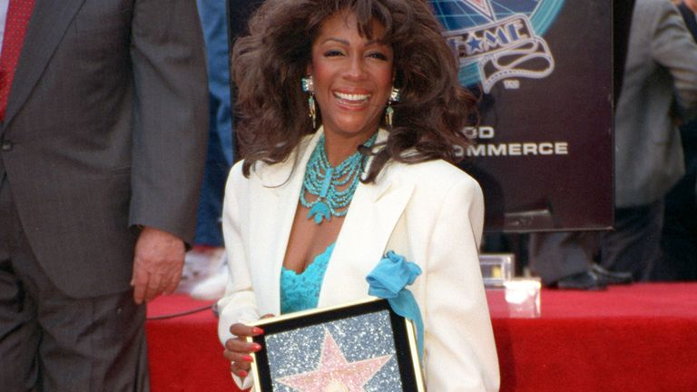 Mary Wilson, former member of The Supremes, poses at the dedication of the 2,026th star on the Hollywood Walk of Fame honoring The Supremes in 1994. Pic: AP