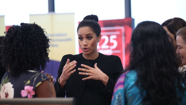 The Duchess of Sussex speaking to students during a visit to the Association of Commonwealth Universities