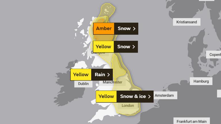 Saturday's weather warnings. Pic: Met Office