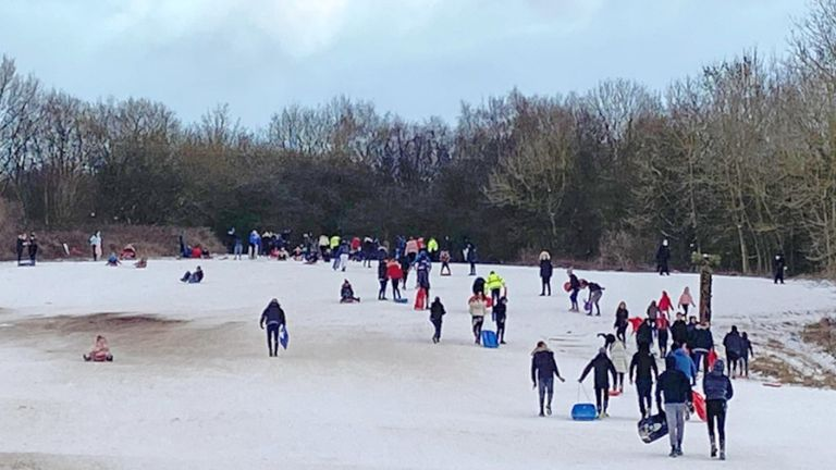 Handout photo issued by Cleveland Police of people going sledging at Flatts Lane Country Park in Middlesbrough on Wednesday. Issue date: Friday February 12, 2021.