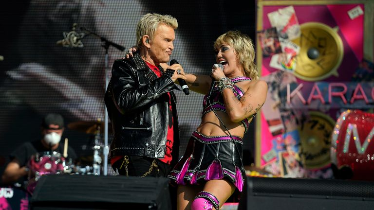 Miley Cyrus and Billy Idol perform at the Super Bowl 2021. Pic: Doug Benc/USA TODAY Sports/ Reuters