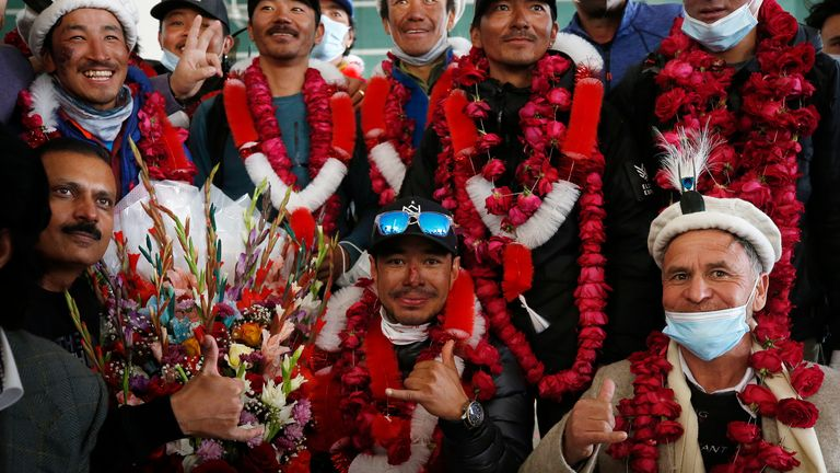 Last month, a team of 10 Nepalese climbers became the first people to summit K2 in the winter. Pic: AP images
