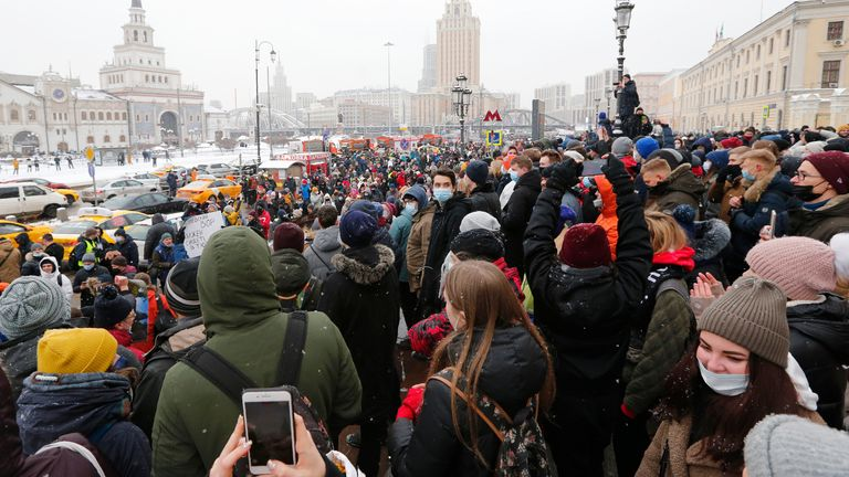 Tens of thousands took to the streets in dozens of Russian cities on Sunday, chanting slogans against Russian President Vladimir Putin. Pic: AP