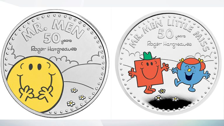 The new Mr Happy and Little Miss Giggles with Mr Strong coins