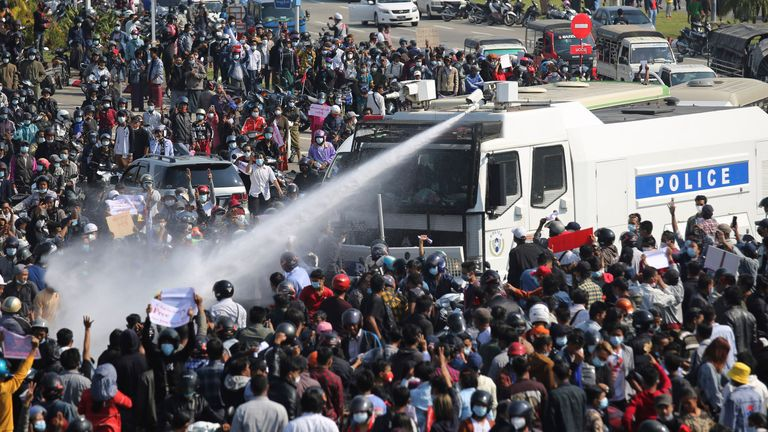 Water cannon is used on protesters Naypyitaw the day before Mya Thwe Thwe Khaing was shot in the same city