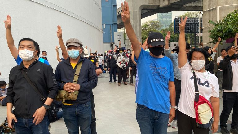 Protesters have been turning out in defiance of new laws imposed against holding gatherings in Bangkok, Thailand