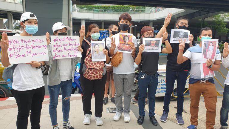 Protestors stood outside a busy shopping centre to show solidarity with Burmese demonstrators, a united stand against dictatorship