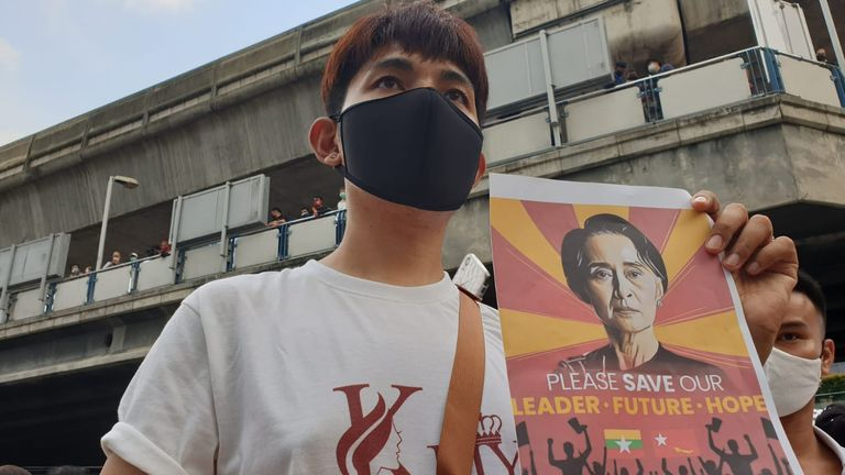 A shopkeeper called Happy who had left Myanmar to work in Bangkok also joined the protest