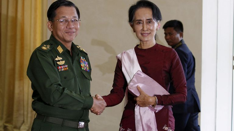 The UK has imposed sanctions on the Myanmar Deputy Minister for Home Affairs, Lt Gen Than Hlaing and three other officials.
