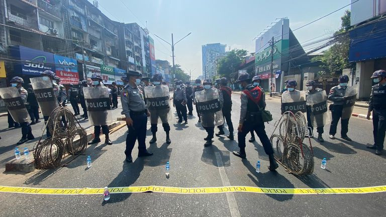 Riot police were deployed to Myanmar's streets at protesters demonstrated