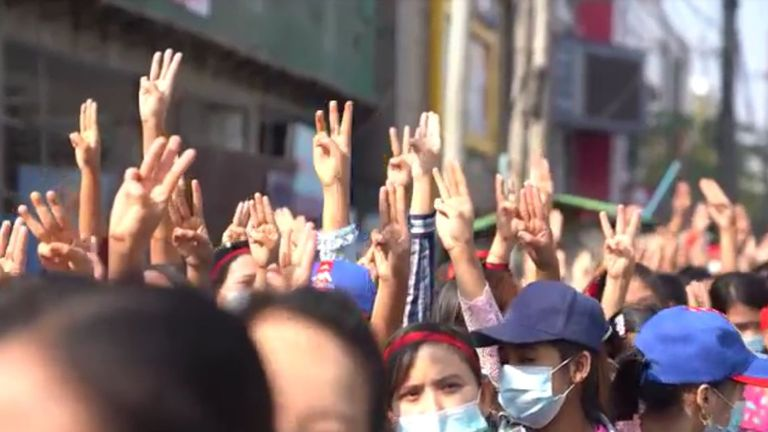 Protesters used the three-finger salute Thai demonstrators took from the Hunger Games