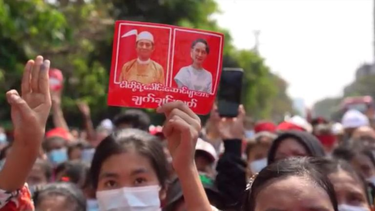 Protesters called for the release of their democratic leaders, including Aung San Suu Kyi