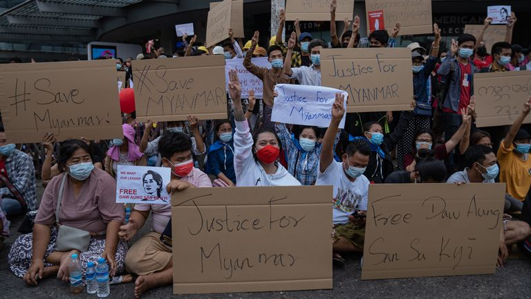 Protesters brought placards calling for justice for the country