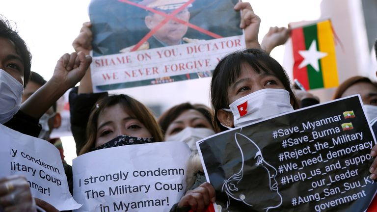 Protest against Myanmar's military after it seized power from democratically elected civilian government at UN University in Tokyo, Japan