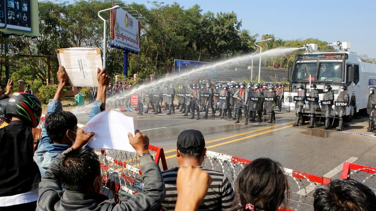 Police fired water cannons at protesters