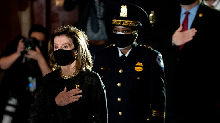 House Speaker Nancy Pelosi attends a ceremony to pay respects to the late Capitol Police Officer Brian Sicknick who lies in honor in the Rotunda of the Capitol in Washington, DC on February 2, 2021. Erin Schaff/Pool via REUTERS