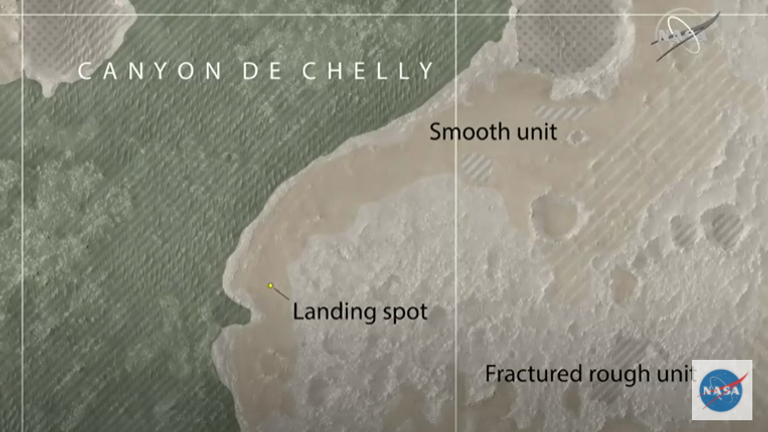 A map shows the landing site and the surrounding 'Canyon de Chelly'. Pic: NASA