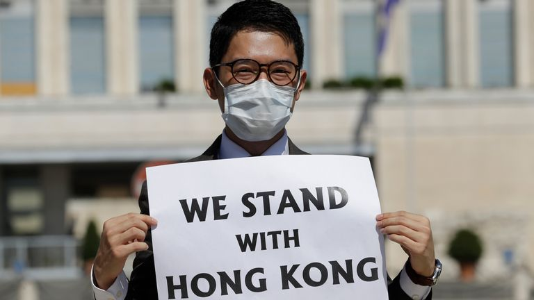 Hong Kong activist Nathan Law takes part in an anti-China protest in Rome, Italy