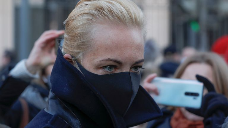 Alexei Navalny's wife Yulia Navalnaya arrives at court for his sentencing