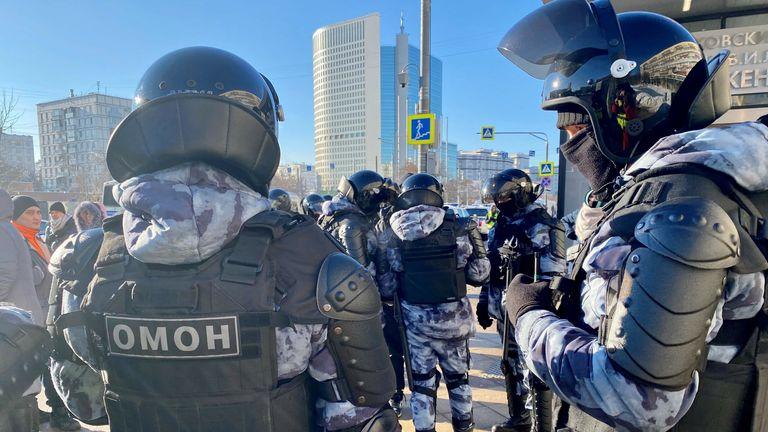 Riot police waiting outside the court. Pic: Anastasya Leonova