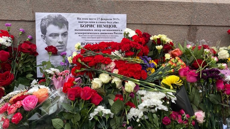 Opposition supporters placed flower on a makeshift memorial for Boris Nemtsov
